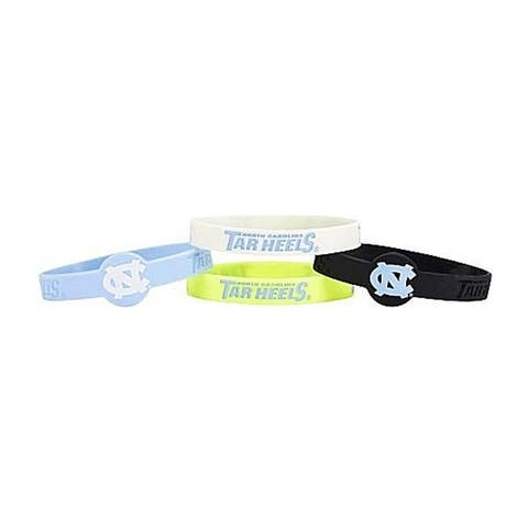 NCAA North Carolina Tar Heels UNC Sports Team Logo Silicone Bracelets - 4 Pack, One Size, Multicolor