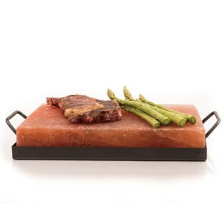 """Himalayan Chef Pink Salt Cooking Plate With Metal Holder 8"""" x 12"""" x 2"""", 16.5 lbs"""
