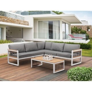 BroyerK 4-piece Outdoor Aluminum Woven Ropes Patio Furniture Set