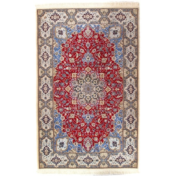 Hand Knotted Persian Style Wool Pile Area Rug: Shop Pasargad DC Persian Nain Hand-Knotted Silk & Wool