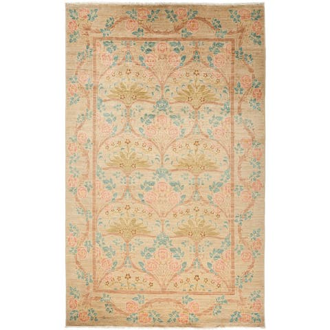Contemporary Patterned & Floral One-of-a-Kind Hand-Knotted Area Rug - 5 x 8