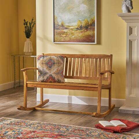Amina Acacia Wood Patio Glider by Christopher Knight Home