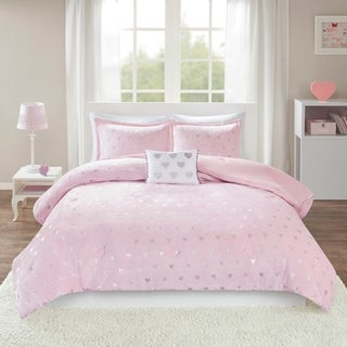 Mi Zone Jenna Metallic Heart Printed Plush Comforter Set