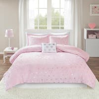 Mi Zone Jenna Metallic Heart Printed Plush Comforter Set 2-Color Option