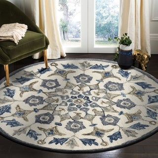 LR Home Hand Tufted Dazzle Ivory/ Blue Wool Rug