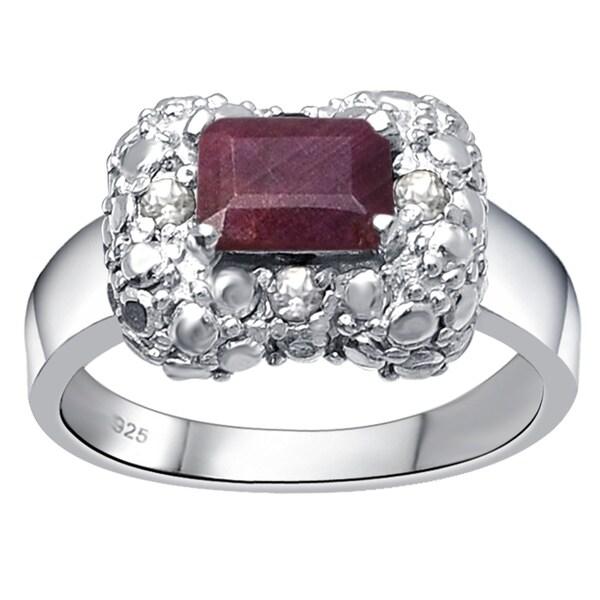 1f695f25351 Shop Sterling Silver 1 2 5Ct TGW Ruby   Topaz July Birthstone Halo ...