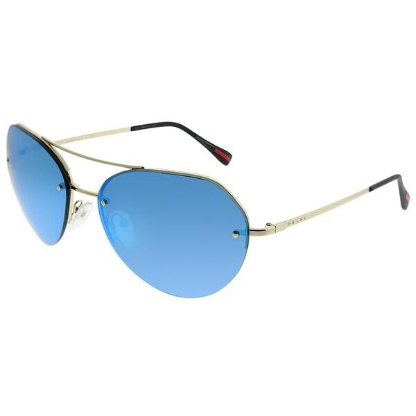 95860dcc64a96 Prada Linea Rossa Aviator PS 57RS ZVN5M2 Unisex Pale Gold Frame Blue Mirror  Lens Sunglasses