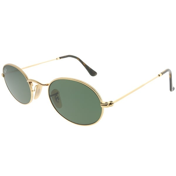 9f09f0f2c90 Ray-Ban Oval RB 3547N Oval Flat Lens 001 Women Gold Frame Green Lens  Sunglasses