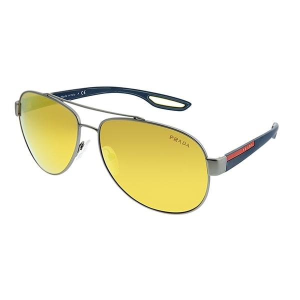 e46ac4ca3d34 Prada Linea Rossa Aviator PS 55QS DG15N0 Unisex Ruthenium Rubber Frame  Orange Mirror Lens Sunglasses