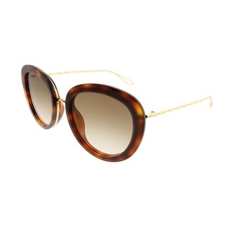 Elie Saab Cat-Eye ES 007/S 2IK_VU Women Havana Gold Plated Frame Brown Gold Mirror Gradient Zeiss Lens Sunglasses