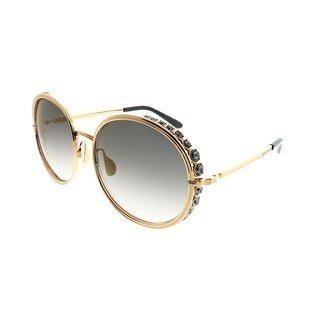 Elie Saab Round ES 016/S 2F7_5B Women Antiqued Gold Plated Frame Brown Gold Mirror Gradient Zeiss Lens Sunglasses