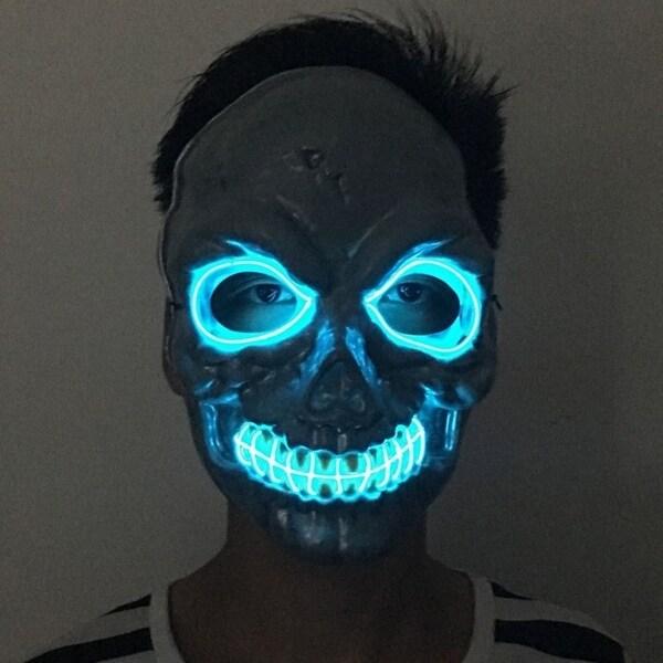 Shop Mask With El Cool Light Scary Skull Skeleton Mask For