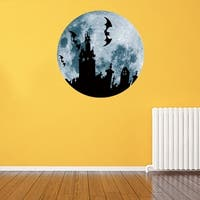 30cm Large Moon-shaped Luminous DIY Wall Sticker Living Home Decoration - halloween