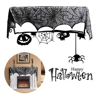 Special Black Lace Mantel Scarf Halloween Party Horror Door Window Scarf Cover