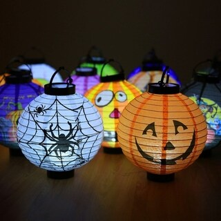 Unique Halloween Decoration LED Paper Light Hanging Lantern Lamp for Party