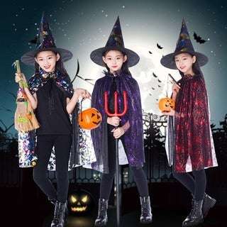 Kids Happy Halloween Costume Set Wizard Witch Cloak Cape Robe And Hat