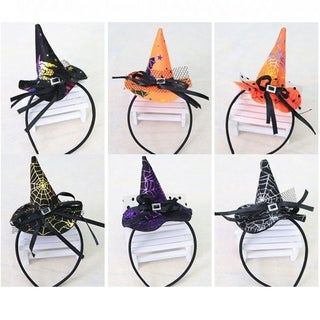 Christmas Witch Head Buckle Halloween Props Colorful Witch Hat Headband