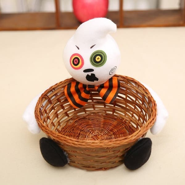 Candy Cookies Food Holder Rattan Basket Halloween Party Decor Storage Basket
