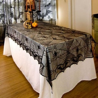 Classic Design Lace Black Spider Wed Party Decorative Tablecloth For Halloween