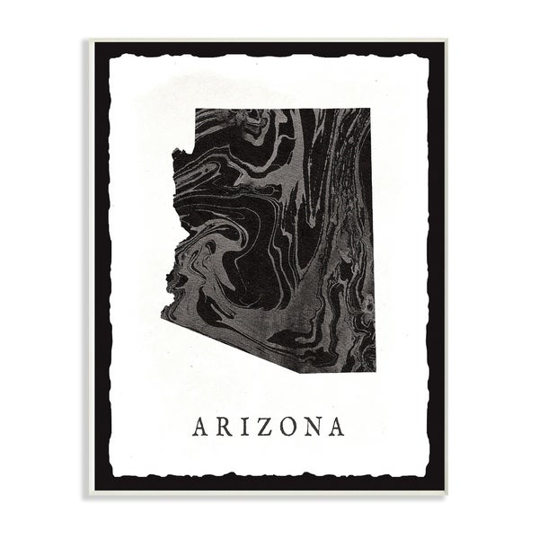 3851fd14c31dd Shop The Stupell Home Décor Collection Black and Grey Marbled Paper Arizona  State Silhouette Wall Plaque Art