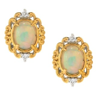 Michael Valitutti Palladium Silver Ethiopian Opal & White Topaz October Birthstone Scrollwork Stud Earrings