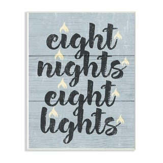 The Stupell Home Décor Collection Blue and White Hanukkah Eight Nights Eight Lights Wall Plaque Art, Proudly Made in USA