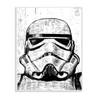 The Stupell Home Décor Collection Black and White Star Wars Stormtrooper Wood Etching Wall Plaque Art, Proudly Made in USA