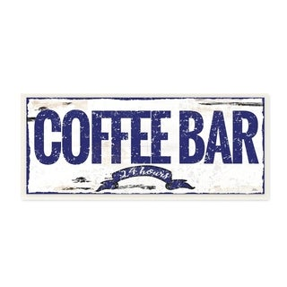 The Stupell Home Décor Collection Blue and White Coffee Bar 24 Hours Sign with Ribbon Wall Plaque Art, Proudly Made in USA