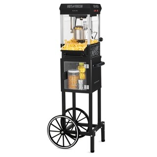 Nostalgia KPM200CTBK Vintage 2.5-Ounce Popcorn Cart with 5-Quart Bowl - 45-Inches Tall - Black - n/a