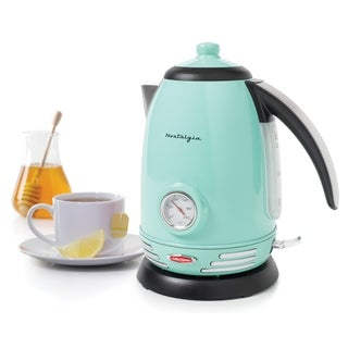 Nostalgia RWK150AQ Retro 1.7-Liter Stainless Steel Electric Water Kettle with Strix Thermostat, Aqua - 1.7 liter