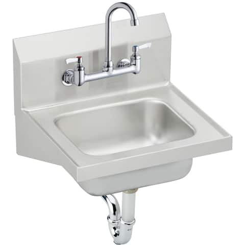 "Elkay 16-3/4"" x 15-1/2"" x 13"", Single Bowl Wall Hung Handwash Sink Kit CHS1716C Stainless Steel"