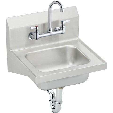 "Elkay 16-3/4"" x 15-1/2"" x 13"", Single Bowl Wall Hung Handwash Sink Kit CHS1716C Stainless Steel - N/A"