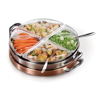 HomeCraft LSB3 Electric 3-in-1 Copper Stainless Steel Lazy Susan Buffet - 4 qt.