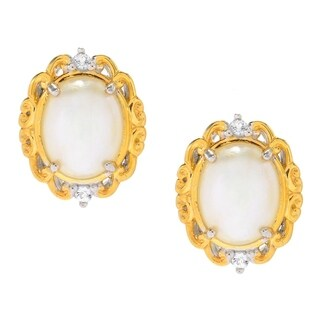 Michael Valitutti Palladium Silver Mabe White Pearl & White Topaz Stud Earrings