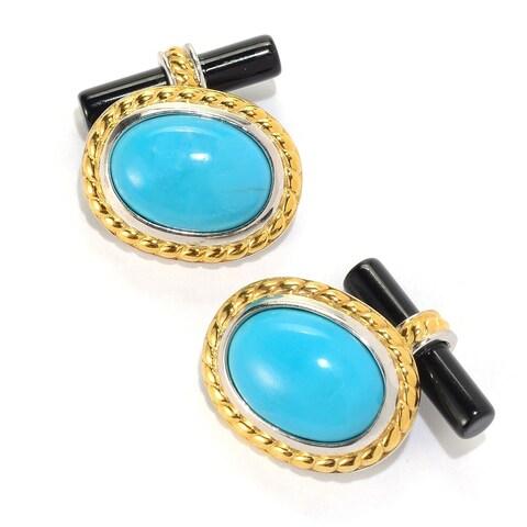 Michael Valitutti Men's Palladium Silver Kingman Turquoise & Black Onyx Cuff Links - Blue