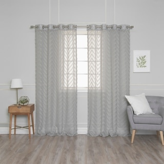 "Aurora Home Textured Zigzag Sheer Curtain Panel Pair - 52""W x 84""L"