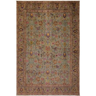 Arshs Fine Rugs Charisse Light Blue and Grey Wool Vintage Distressed Rug - 9'3 x 12'6