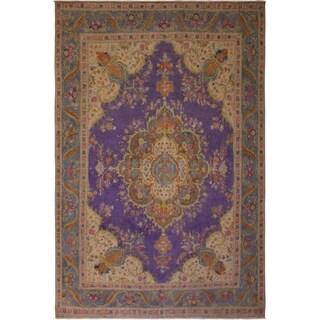 Charise Purple/Grey Wool Vintage Distressed Area Rug - 9'4 x 12'6
