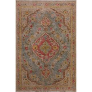 """Vintage Distressed Arlyne Lt. Blue/Tan Wool Rug (3'0 x 4'5) - 3'0"""" x 4'5"""""""