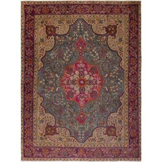 Charita Grey/Purple Wool Vintage Distressed Area Rug - 9'6 x 12'2