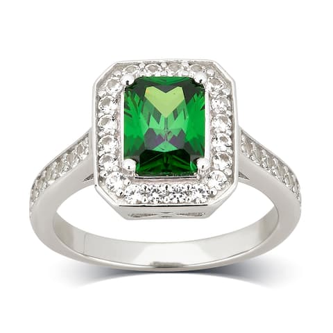 Divina Sterling Silver Created Emerald and Cubic Zirconia Engagement Ring