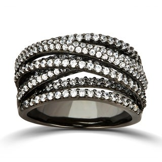 Divina Black Rhodium Plated Cubic Zirconia Sterling Silver Wedding Band