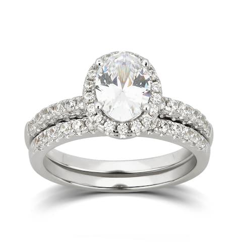 Divina Sterling Silver Cubic Zirconia Bridal Ring Set