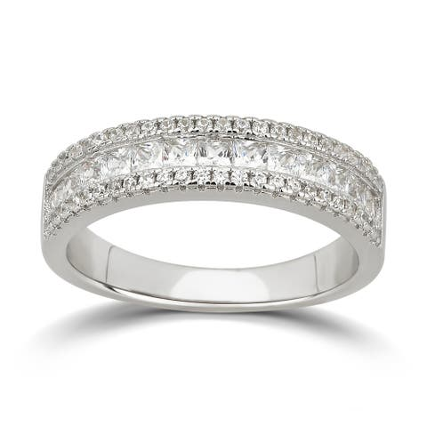 Divina Sterling Silver Cubic Zirconia Wedding Band
