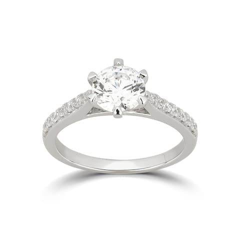 Divina Sterling Silver Cubic Zirconia Engagement Ring
