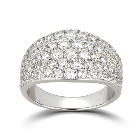 Divina Sterling Silver Cubic Zirconia Cluster Anniversary Ring