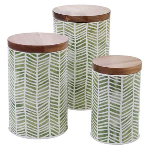 Certified International Mixed Green Patterns 3-piece Canister Set