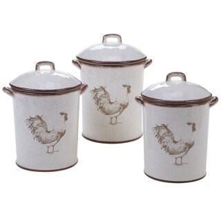 Certified International Toile Rooster 3-piece Canister Set