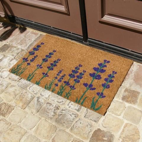 "Rubber-Cal ""Purple English Lavender"" Flower Doormat, 18 x 30"