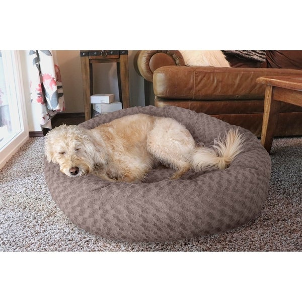 Shop Furhaven Deep Dish Curly Faux Fur Plush Donut Pet Bed